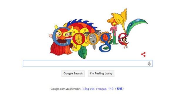 Tro chuyen voi tac gia 8 tuoi duoc giai cua Google hinh anh 1 Tác phẩm Doodle Đón Xuân Ất Mùi của Lê Hiếu. Ảnh: Google