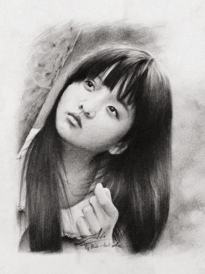 Buc tranh 'Toi thay hoa vang tren co xanh' cua 9X Hue hinh anh 1 Bức tranh chân dung bé Mận nhận được nhiều lời khen từ mạng xã hội. Ảnh: NVCC