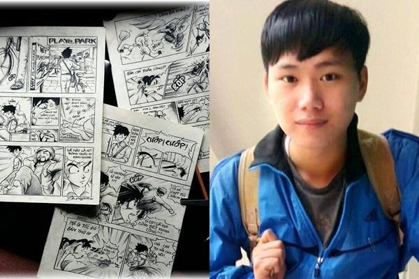 Buc tranh 'Toi thay hoa vang tren co xanh' cua 9X Hue hinh anh 3 Anh An và mẫu truyện tranh tự sáng tác. Ảnh: NVCC