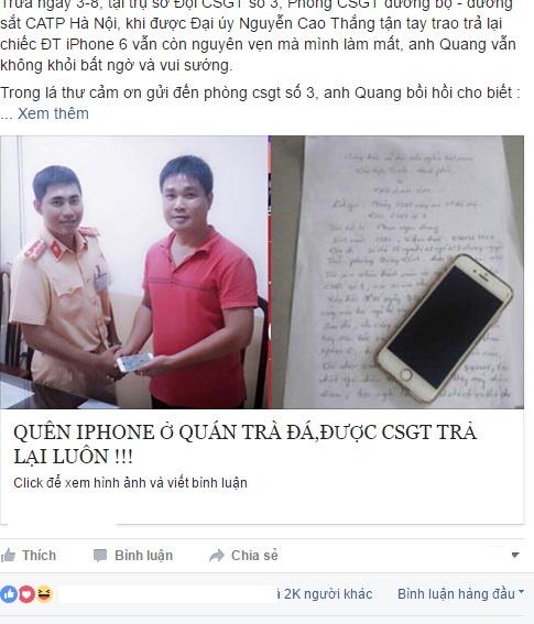 CSGT Ha Noi tra lai iPhone 6 cho nguoi mat hinh anh 1