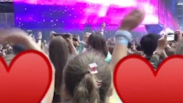 Harper Beckham phan khich trong show dien cua Taylor Swift hinh anh