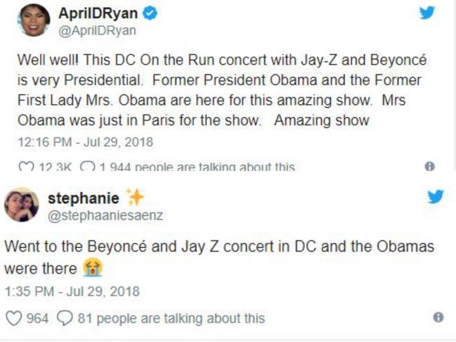 Vo chong cuu Tong thong Obama den xem show dien cua Beyonce hinh anh 1