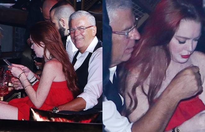 Lindsay Lohan tinh tu ben nguoi dan ong lon tuoi trong hop dem hinh anh