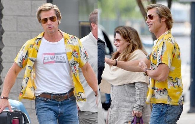 Brad Pitt mac ao sac so, vui ve tren phim truong bom tan moi hinh anh