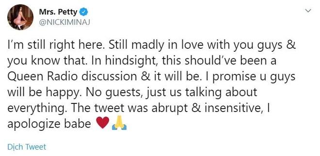 Nicki Minaj rút lại tuyên bố giải nghệ vì quyết định đường đột