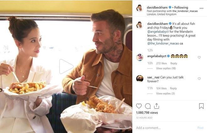 David Beckham va Angelababy cuoi tuoi khi quay quang cao tren pho hinh anh 3