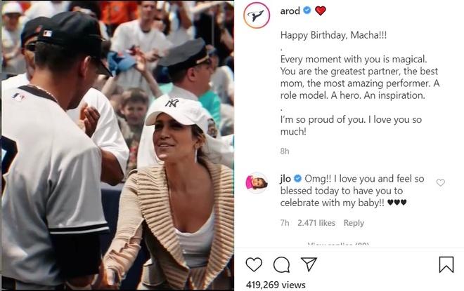 Thông qua trang cá nhân, Alex Rodriguez đăng clip ghi lại khoảnh khắc quất quýt người yêu. Anh dành lời mặn nồng cho vợ sắp cưới:
