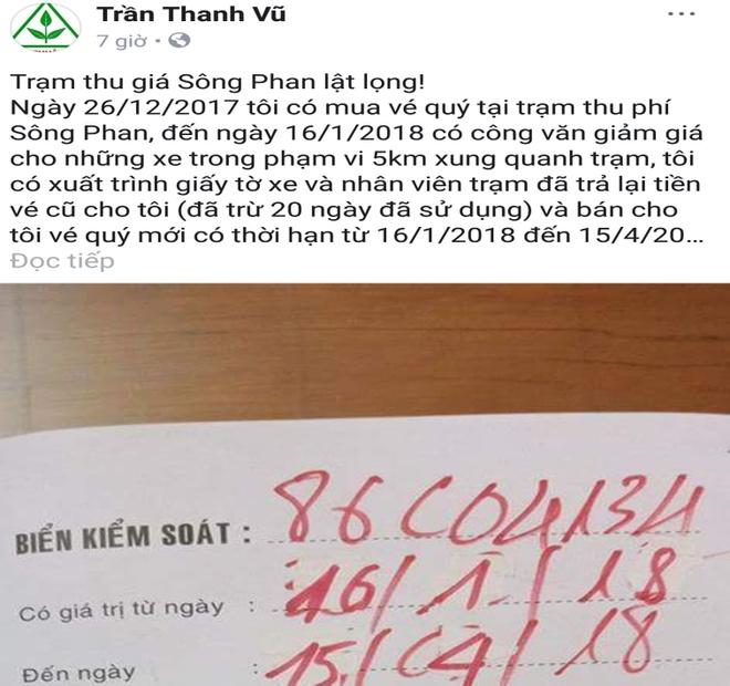 Tai xe len mang to tram BOT Song Phan lat long hinh anh 1