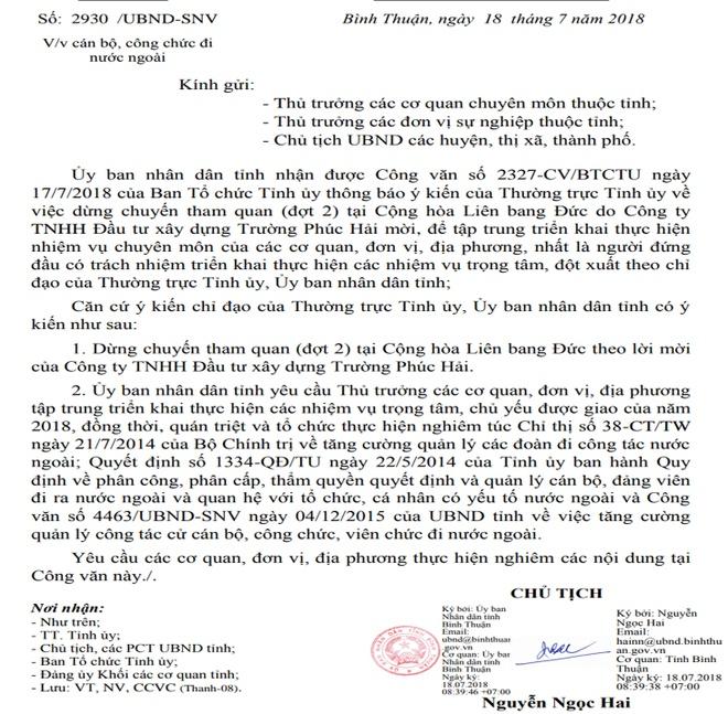 Bi thu Binh Thuan: Can bo khong di nuoc ngoai bang tien doanh nghiep hinh anh 2