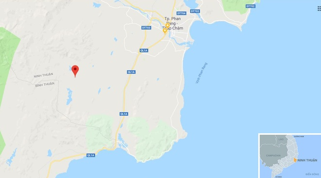 Rừng Trà Nô (chấm đỏ), nơi xảy ra vụ án. Ảnh: Google Maps.