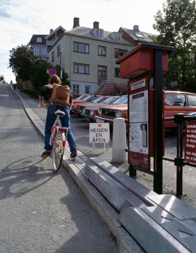 10 phuong tien giao thong di nhat hanh tinh hinh anh 4 Thang máy dành riêng cho người đi xe đạp ở Trondheim, Na Uy. Ảnh: Leslie Garland Picture Library/Alamy
