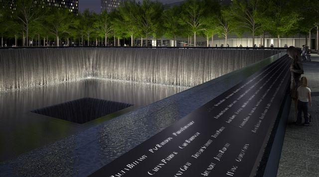 """10 dai phun nuoc doc nhat vo nhi tren the gioi hinh anh 10 Đài phun nước tưởng niệm các nạn nhân vụ 9/11, New York, Mỹ: Hai đài phun nước này được đặt ở vị trí của hai tòa tháp tại """"Vùng số 0"""", nơi từng là Trung tâm thương mại thế giới. Các đài phun nước này được xây dựng với các vật liệu thường dùng để tưởng niệm như cây, đá, nước và đồng đỏ, trên thành đài phun có khắc tên của những người đã thiệt mạng trong vụ 9/11."""