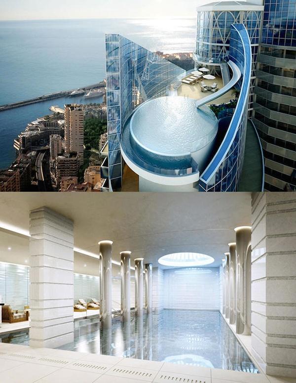 """9. Căn hộ tầng thượng đắt nhất thế giới ở Monaco: Căn hộ tầng thượng """"Sky Penthouse"""" tại tháp Odeon ở Monaco sẽ có giá 400 triệu đôla và trở thành căn hộ đắt nhất thế giới. Căn hộ rộng 3.500m2 này gồm 5 tầng, mỗi tầng có một bếp riêng và một máng trượt nước nối từ sàn nhảy tới bể bơi vô cực nằm trong khuôn viên căn hộ."""