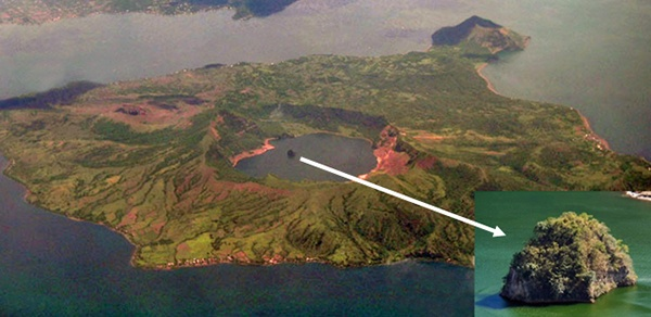 8. Vulcan- đảo trong đảo, Philippines: Trên đảo Luzon của Philippines có hồ Taal, và trong hồ có một núi lửa tên Taal. Trên đỉnh của nó là một hồ miệng núi lửa lớn, giữa hồ có một hòn đảo nhỏ tên Vulcan. Tóm lại, Vulcan là hòn đảo nằm trong hồ nước trên một hòn đảo nằm giữa hồ của một hòn đảo.