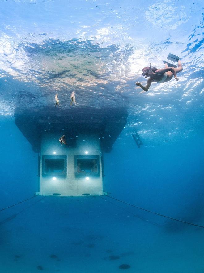 10 diem du lich tuyet nhat hanh tinh nam duoi long bien hinh anh 5 5. Căn phòng dưới nước, khu nghỉ dưỡng Manta, Zanzibar: Năm 2013, khu nghỉ dưỡng Manta trên đảo Pemba, Zanzibar đã đưa một phòng  khách sạn 3 tầng nằm ở độ sâu 4m dưới biển vào sử dụng. Du khách ở trong căn phòng sẽ được chiêm ngưỡng khung cảnh dưới đáy đại dương, rạn san hô và những sinh vật biển.