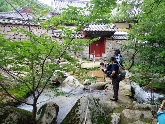 Chiem nguong ngoi chua 1.300 tuoi o Han Quoc hinh anh 9 Ngay sát bên hông chùa Beomeosa là đường lên núi Geumjeongsan. Leo núi là một hoạt động ưa thích của người Hàn Quốc. Du khách đến đây cũng thường theo họ để chiêm ngưỡng dòng suối Beomeosa trong vắt, lắng nghe tiếng chim ríu rít trong các khu rừng đại ngàn, trải ngiệm cảm giác thử thách lòng dũng cảm khi đặt chân trên từng bạc đá khi gập ghềnh, lúc cheo leo…