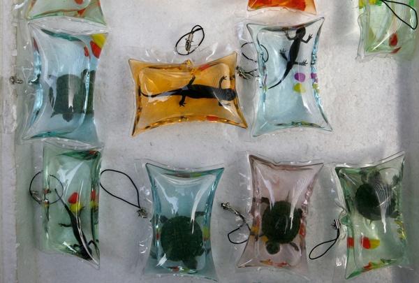 Móc chìa khóa rùa sống: Một trong những thứ lạ lùng nhất mà bạn có thể mua được ở Trung Quốc là móc chìa khóa chứa động vật sống, thường là rùa hoặc cá mặt trăng cỡ nhỏ. Chúng được cho vào các túi nhựa nhỏ chứa dung dịch giàu dinh dưỡng (được cho là có thể nuôi sống con vật trong 3-4 tháng). Tuy nhiên, việc các túi nhựa bị bịt kín khiến con vật không có ôxy, nhiều tổ chức bảo vệ động vật ở Trung Quốc đã lên tiếng phản đối sản phẩm này. Nhiều người mua chúng như bùa may mắn, nhưng cũng nhiều người mua để giải phóng những con vật bên trong.