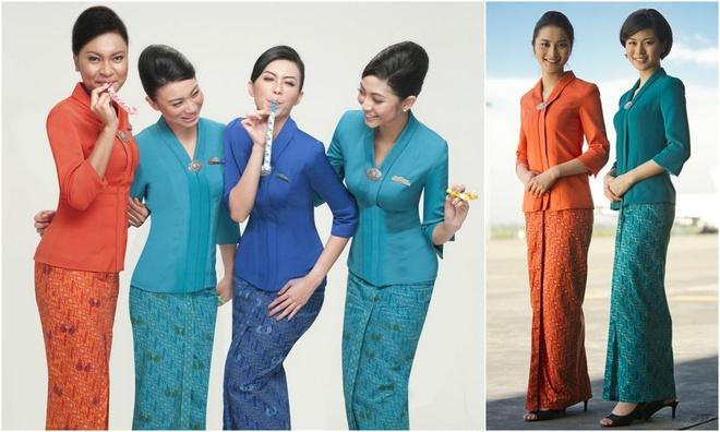 So dong phuc nu cua Vietnam Airlines voi cac hang SkyTeam hinh anh 15 Garuda Indonesia (Indonesia): Với áo trên ôm sát và chân váy sarong truyền thống, đồng phục của hãng Garuda Indonesia có nhiều màu sắc trẻ trung, hiện đại nhưng vẫn mang đậm văn hóa truyền thống của quốc gia này.