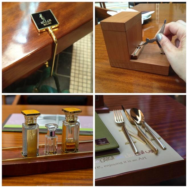 Dao dĩa bằng vàng: Và tất nhiên, dao dĩa cùng các vật dụng nhỏ như móc treo ví, lọ gia vị đều được dát vàng.
