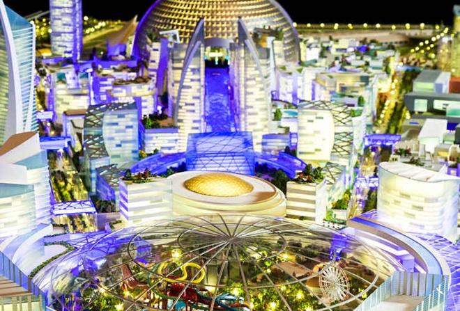 """Dubai xay thanh pho mat ruoi giua sa mac hinh anh 1 Mang tên """"Siêu thị của thế giới"""", dự án khu tổ hợp du lịch, giải trí và mua sắm này giống như một thành phố thu nhỏ của Dubai được khởi công xây dựng từ năm 2015."""