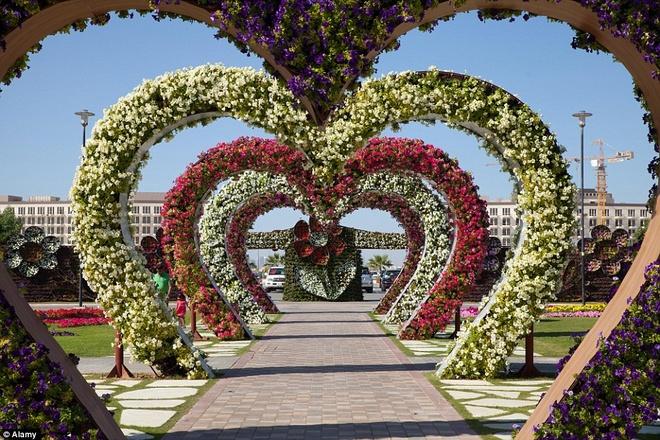 Điểm tham quan tuyệt vời này đang giữ kỷ lục Guinness cho khu vườn nằm ngang lớn nhất thế giới. Những cụm hoa được tạo thành hình trái tim trải dọc lối đi là một trong những nơi được nhiều du khách yêu thích.