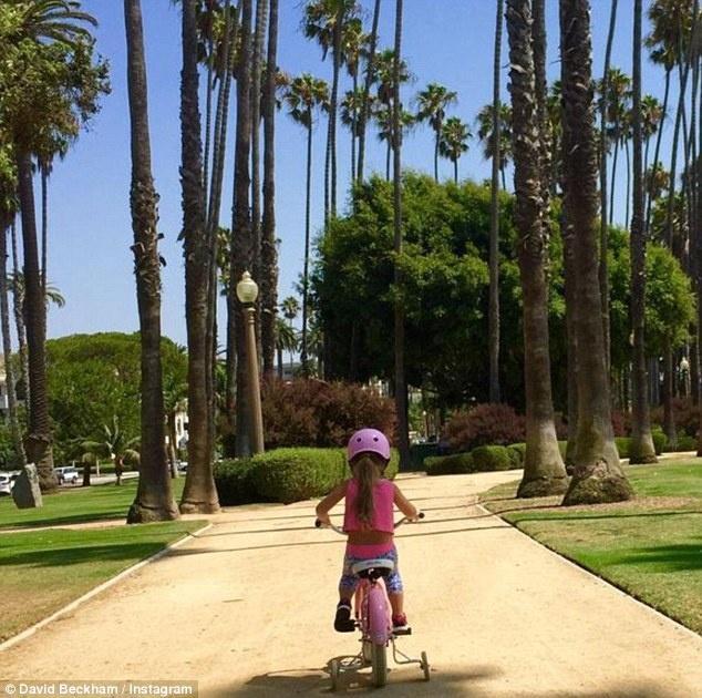 Dai gia va cac sao Hollywood lam gi trong ky nghi he? hinh anh 7 Beckham cũng khiến hơn 600.000 người theo dõi trên Instagram trầm trồ trước hình ảnh đáng yêu của cô con gái Harper. Trong ảnh, cô bé đang đạp xe ba bánh dưới những tán dừa.