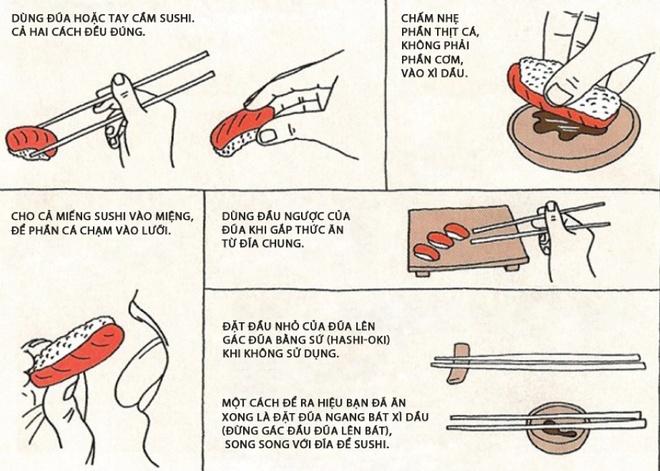Lam gi de tranh bi xau ho khi an sushi? hinh anh