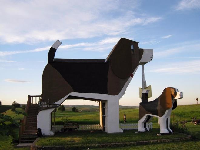 Dog Bark Park (Mỹ): Một cặp đôi nghệ sĩ đã xây dựng khách sạn đặc biệt này ở Cottonwood, Idaho, lấy cảm hứng từ những chú chó gỗ họ tạc cho một chương trình truyền hình. Nơi nghỉ đêm ấm cúng này được trang trí bằng các tượng chó, đủ chỗ cho 4 người.