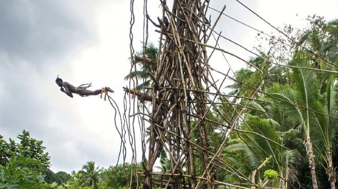 Nhung nghi le dang so de chung to ban linh dan ong hinh anh 8 Nhảy bungee bằng dây rừng: Các nam thiếu niên của bộ tộc Vanuatu sống ở đảo Pentecost phải thực hiện nghi lễ nhảy từ tháp cao 30 m xuống đất chỉ với một sợ dây rừng cột vào chân. Họ càng xuống sát mặt đất thì càng được đánh giá cao. Không ít người đã bị thương nặng, thậm chí là thiệt mạng sau nghi lễ trưởng thành đáng sợ này.