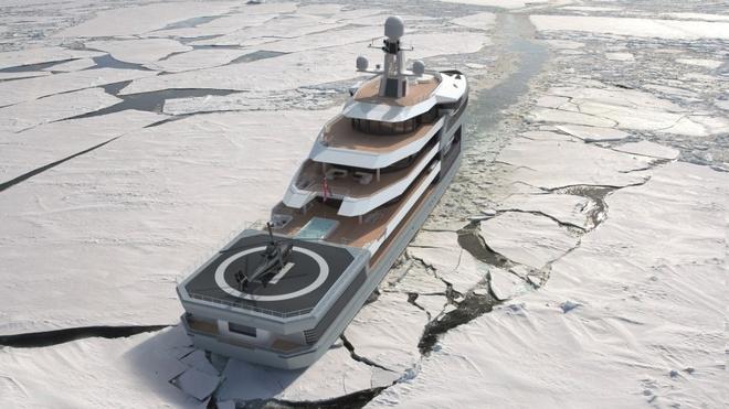 """Sieu du thuyen co kha nang pha bang nhu tau chien hinh anh 4 Các tàu phá băng không còn xa lạ, nhưng việc một du thuyền sang trọng có khả năng này là """"vô tiền khoáng hậu"""". SeaXplorer có thân tàu dạng lưỡi búa, đủ khả năng để xuyên qua lớp băng dày tới 1 m."""