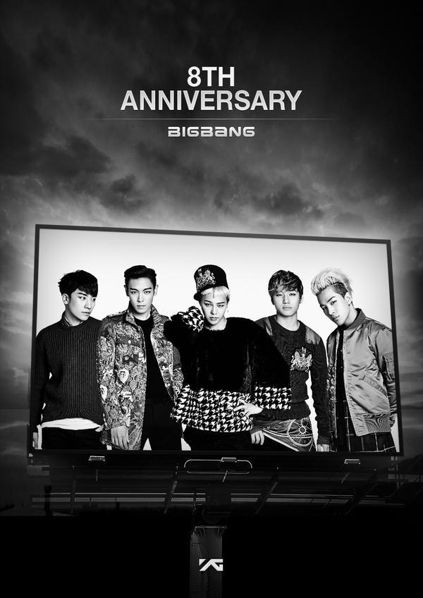 Big Bang va 8 nam su nghiep khong chi co hoa hong hinh anh 1 Hình ảnh chào mừng 8 năm ra mắt của Big Bang trên trang chủ YG Entertainment.