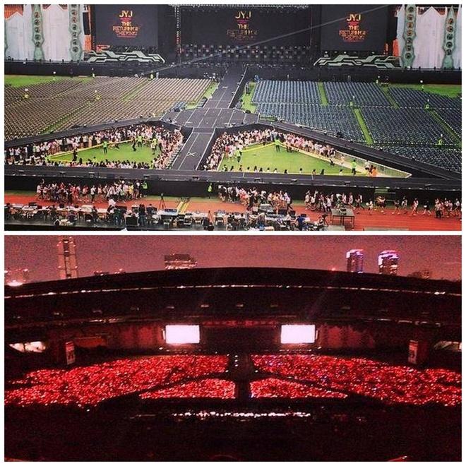 Fan Viet khong duoc di giay cao got xem concert JYJ hinh anh 2 Toàn cảnh sân khấu hoành tráng của concert diễn ra tại Seoul hôm 9/8. Ảnh: