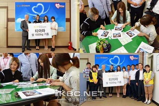 Soi lich nghi Tet Trung thu cua sao Han hinh anh 16 T-ara mừng lễ Chuseok bằng nghĩa cử cao đẹp. Boram, Hyomin và Qri đã đại diện nhóm trao tặng 1.500 kg gạo cho tổ chức Angel Recreation Headquarters, để giúp đỡ người nghèo.