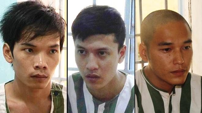 Ba bị can (từ trái qua) Tiến, Dương, Thoại.