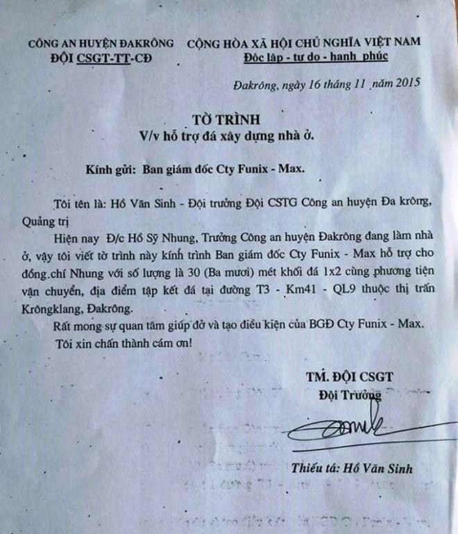 CSGT xin vat tu cua doanh nghiep cho truong cong an huyen hinh anh 1