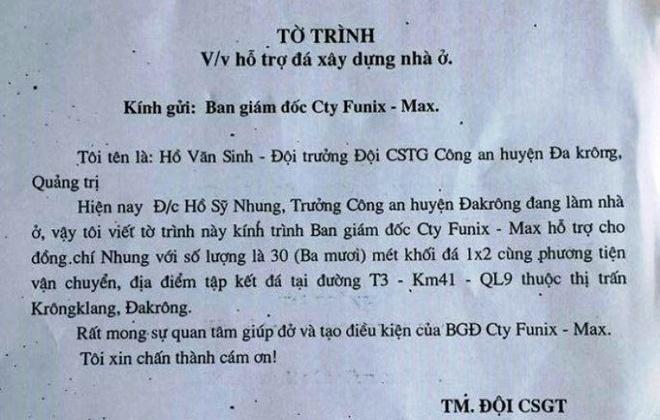 CSGT xin vat tu cua doanh nghiep cho truong cong an huyen hinh anh