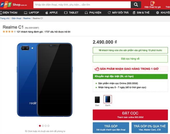 Realme C1 mau xanh mo ban tren kenh online cua TGDD va FPT Shop hinh anh 3