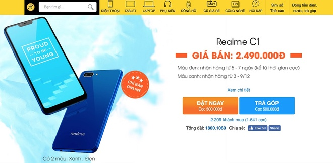 Realme C1 mau xanh mo ban tren kenh online cua TGDD va FPT Shop hinh anh 2