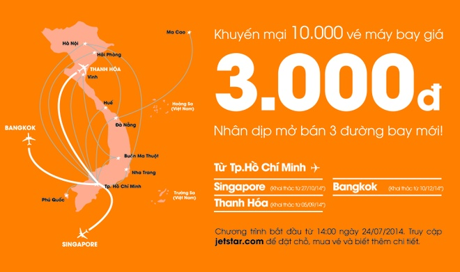 Jetstar Pacific ban ve bay quoc te voi gia 3.000 dong hinh anh 1