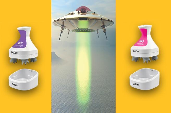 Máy massage gội đầu tự động UFO có hình dáng như một vật thể lạ đến từ hành tinh khác.