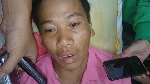 Anh Nam khóc khi nhớ về vụ tai nạn kinh hoàng.
