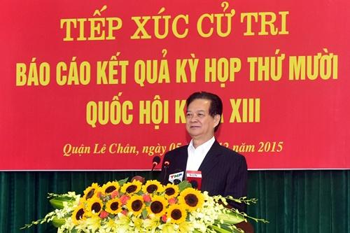 Thu tuong tiep xuc cu tri TP Hai Phong hinh anh 1