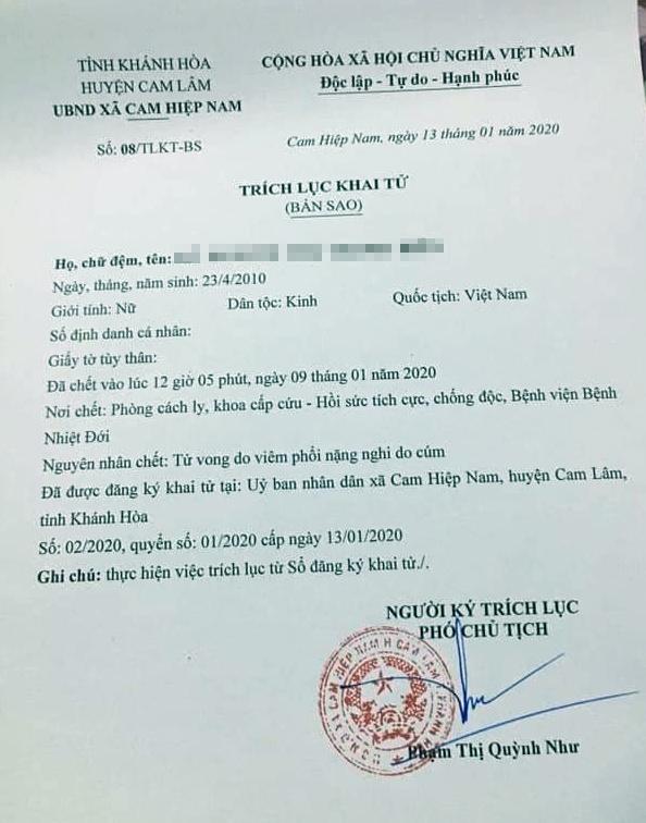 Bệnh nhi Khánh Hòa tử vong do cúm không thuộc chủng corona ở TQ
