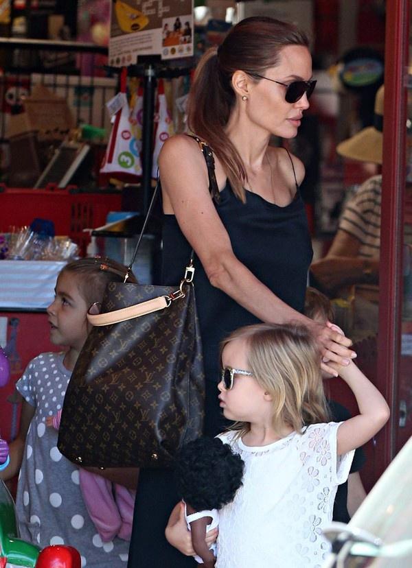 Dòng túi quai dài của LV cũng được Angelina rất yêu thích. Cô sở hữu chiếc túi Metis Shoulder Bag Louis Vuitton có giá 1.960$ khoảng 41,2 triệu VNĐ...