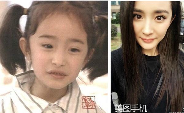Dương Mịch: Dương Mịch từ bé đã tham gia khá nhiều phim. Ngay từ khi 3 tuổi, bé Dương Mịch đã được yêu quý bởi sự đáng yêu. Nhìn ảnh thơ ấu của cô, người ta không thấy sự tương phản mà thậm chí còn trầm trồ hơn.