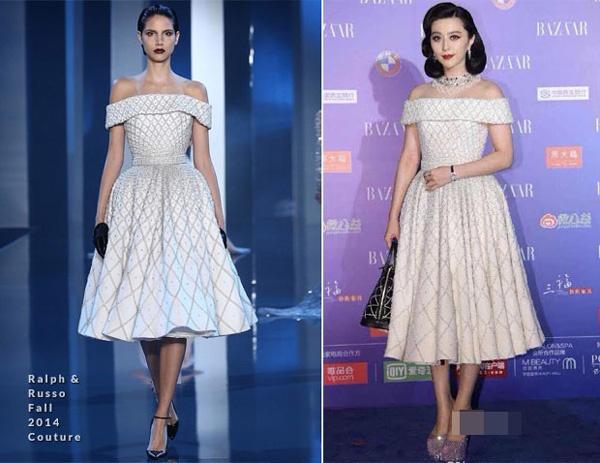 Pham Bang Bang: Nu hoang hang hieu cua Cbiz hinh anh 9 Cô khoe eo thon và vai trần với váy xòe hiệu Ralph & Russo khi tới sự kiện từ thiện do tạp chí Harper's Bazaar tổ chức tại Trung Quốc.