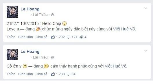 Nhung sao Viet bi mat chuyen co con toi phut chot hinh anh 1 Lê Hoàng: Tối 10/7, trên trang cá nhân, Lê Hoàng The Men liên tục đăng tải những dòng chia sẻ tới bạn gái Việt Huê: