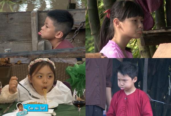 Nhung bieu cam 'kho do' cua sao Viet hinh anh 6 Bờm, Tê Giác, Suti và Bo thi nhau làm mặt xấu.