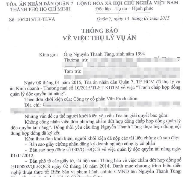 Cong ty cu chinh thuc kien Son Tung M-TP ra toa hinh anh 2