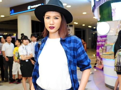Trang Tran khoe bung bau 3 thang o su kien hinh anh